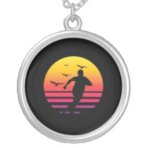 Soccer retro sunset, #Soccer Silver Plated Necklace