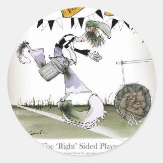 soccer right winger black + white kit classic round sticker