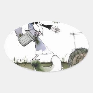 soccer right winger black + white kit oval sticker