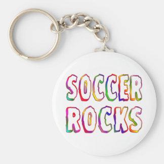 Soccer Rocks Basic Round Button Keychain