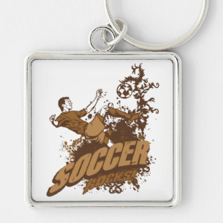 Soccer Rocks! Silver-Colored Square Keychain