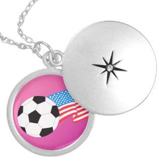 Soccer Round Locket Necklace