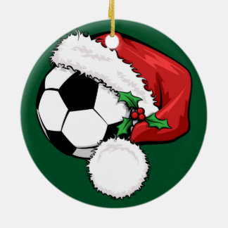 Soccer Santa Cap with Green Ornament