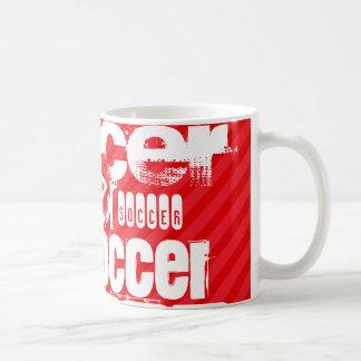 Soccer; Scarlet Red Stripes Classic White Coffee Mug