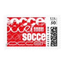 Soccer; Scarlet Red Stripes Postage