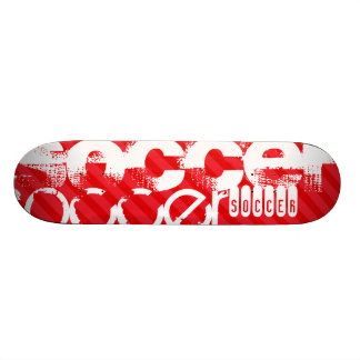 Soccer; Scarlet Red Stripes Skate Board Deck
