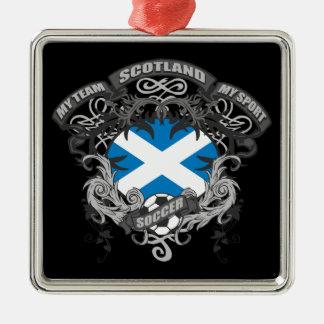 Soccer Scotland Square Metal Christmas Ornament