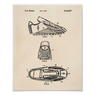 Soccer Shoes 1993 Patent Art  - Old Peper Poster