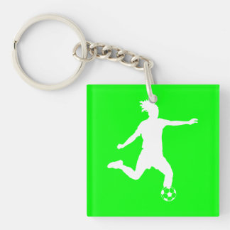 Soccer Silhouette Acrylic Keychain w/Name Green