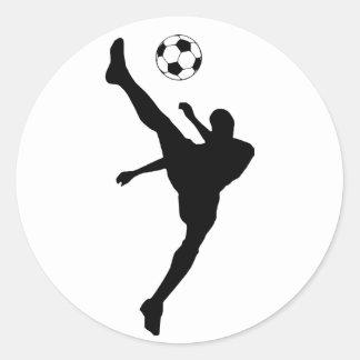 soccer silhouette. classic round sticker