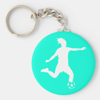 Soccer Silhouette Keychain Turquoise