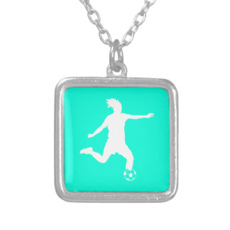 Soccer Silhouette Necklace Turquoise