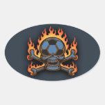 Soccer Skull III Oval Stickers