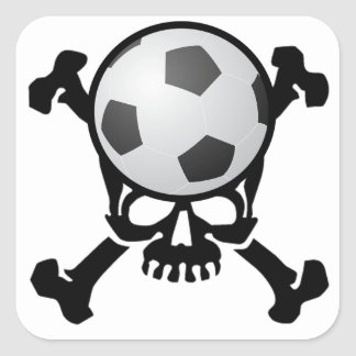 Soccer Skull Square Sticker