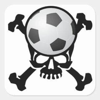 Soccer Skull Square Sticker