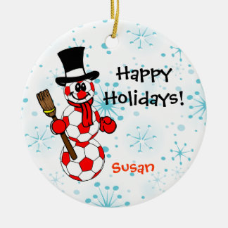 Soccer Snowman Personalize Ornament