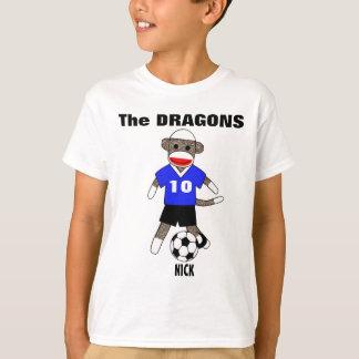Soccer Sock Monkey T-Shirt (blue) - Customized