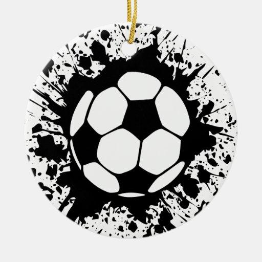 soccer splatz Double-Sided ceramic round christmas ornament