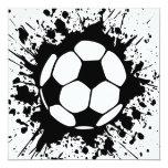 soccer splatz 5.25x5.25 square paper invitation card