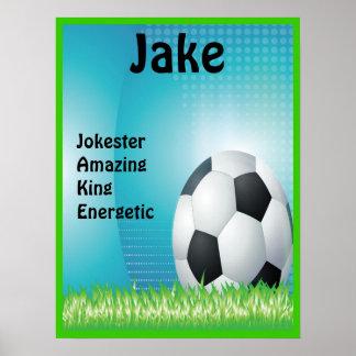 Soccer Sport Boys or Girls Name Art Print