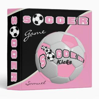 Soccer Sport Game | Pink | DIY Name 3 Ring Binder