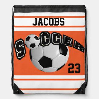 Soccer Sport Jersey | DIY Name and Number | Orange Drawstring Backpack