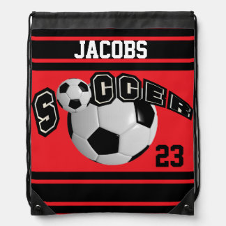Soccer Sport Jersey | DIY Name and Number | Red Drawstring Backpack