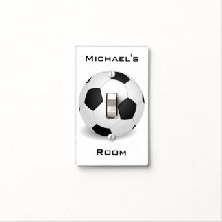 Soccer Sports Ball with Optional Kids Room Name Light Switch Cover
