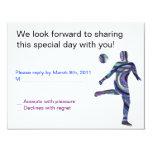 """Soccer Sports Bar Mitzvah Invitation Jewish REPLY 4.25"""" X 5.5"""" Invitation Card"""