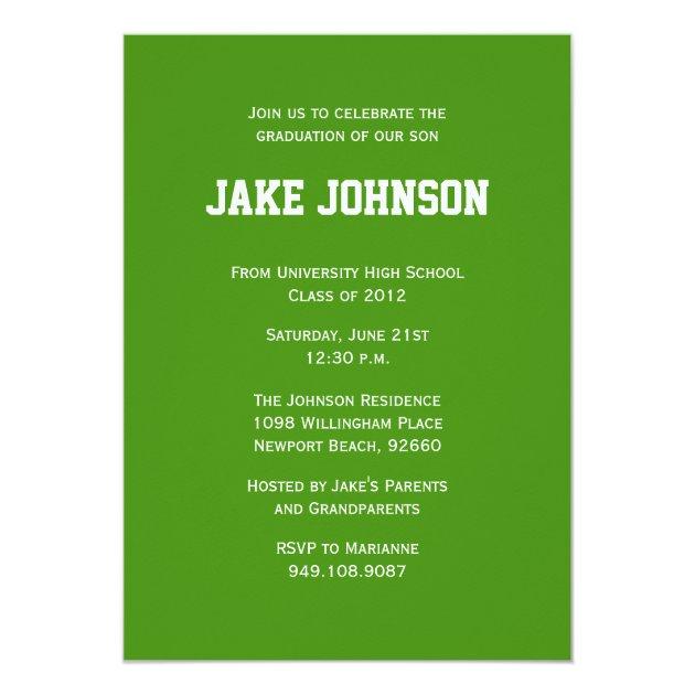 Soccer Sports Graduation Invitation Announcement (back side)