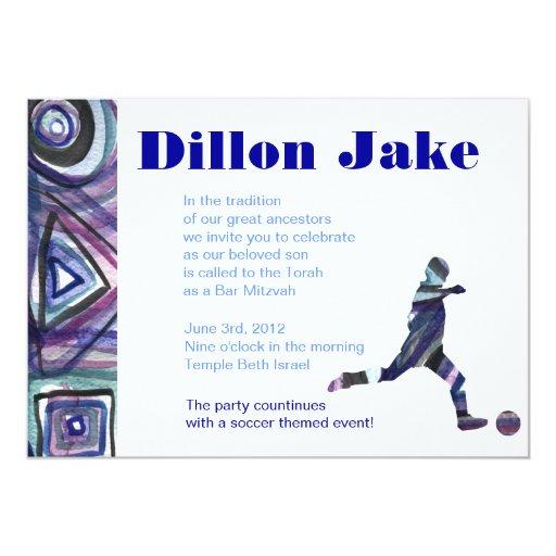 """Soccer Sports Invitation Bar Mitzvah Jewish blue 5"""" X 7"""" Invitation Card"""