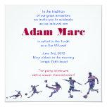 "Soccer Sports Invitation Bar Mitzvah Jewish red 5.25"" Square Invitation Card"