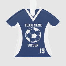 Soccer Sports Jersey Blue With Photo Ornament at Zazzle
