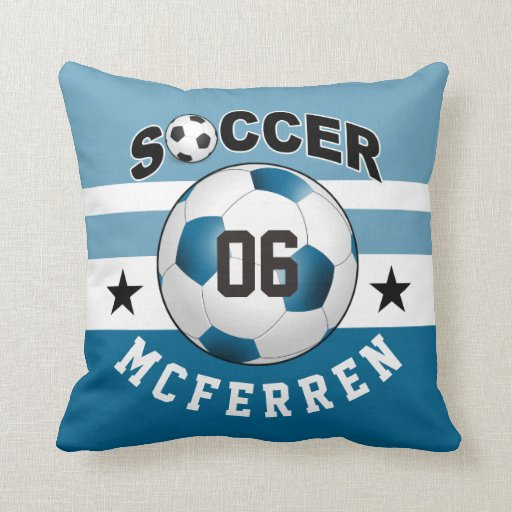 Throw Pillows With Numbers On Them : Soccer Sports Jersey Custom Name Number blue Throw Pillow Zazzle
