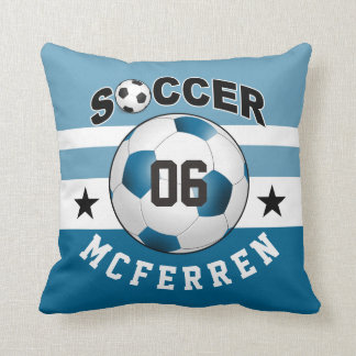 Soccer Sports Jersey Custom Name Number | blue Throw Pillow