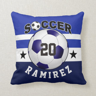 Soccer Sports Jersey Custom Name Number | cobalt Throw Pillow