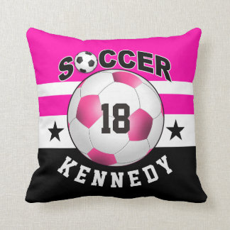 Soccer Sports Jersey Custom Name Number | fuchsia Throw Pillow