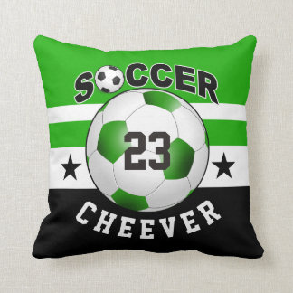 Soccer Sports Jersey Custom Name Number | green Throw Pillow