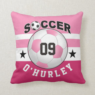 Soccer Sports Jersey Custom Name Number | pink Pillow