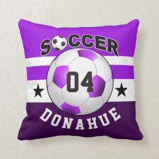 Soccer Sports Jersey Custom Name Number | purple Throw Pillow