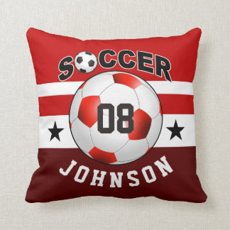 Soccer Sports Jersey Custom Name Number | red Throw Pillow