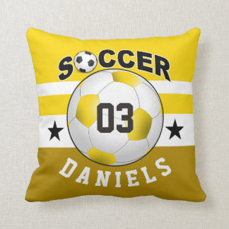 Soccer Sports Jersey Custom Name Number | yellow Throw Pillow
