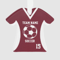Soccer Sports Jersey Maroon with Photo Ornament