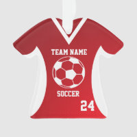 Soccer Sports Jersey Red with Photo Ornament