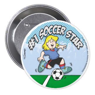 Soccer Star Girl Pinback Button