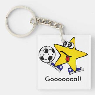 Soccer Star Gooooooal! Double-Sided Square Acrylic Keychain