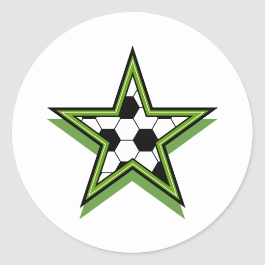 soccer star green classic round sticker