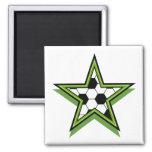 soccer star green refrigerator magnet