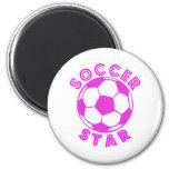 soccer star pink fridge magnet