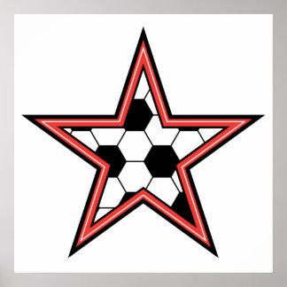 soccer star red poster